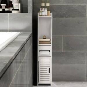 4 Tiers Modern Bathroom Cabinet Furniture Wood Slim Shelf Unit Storage Cupboard