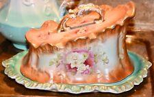 FRANZ ANTON MEHLEM ? ANTIQUE PORCELAIN CHEESE DISH c1890 PINK ROSES GOLD GILT