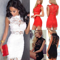 Summer Women's Lace Bandage Bodycon Evening Sexy Party Cocktail Short Mini Dress