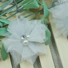 10/20/100PC Mesh Ribbon Flowers Bows W/Beads Rhinstone Appliques Craft Lots A260