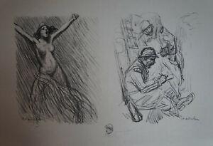 """STEINLEN (1859/1923) Litho WW1 - """" FEUILLE DE CROQUIS 2 """"  - Signé"""