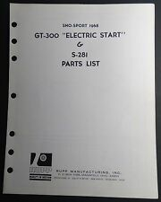 1968 RUPP SNOWMOBILE SNO-SPORT GT-300 ELECTRIC START & S-281 PARTS MANUAL ((709)