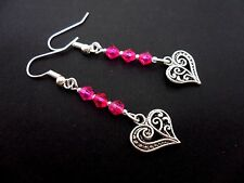 A PAIR OF TIBETAN SILVER & PINK  CRYSTAL HEART DANGLY EARRINGS. NEW