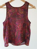 Quirky Circus Womens Size 10 Casual Multicolour Paisley Print Summer Tank Top