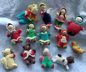 Vintage Dolls house Amigurumi dolls plus animals crochet dolls Japanese 1960's