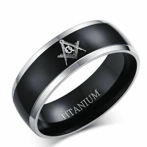 Men's and Womens Stainless Steel & Enamel Freemason's Ring 8-15 FM 01