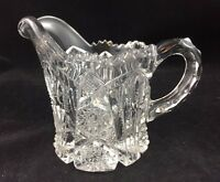 """Imperial Glass 3 7/8"""" Creamer Pitcher Marked NUCUT IG Pattern 212 c 1912 *"""