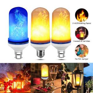 4/1x Fire Effect B22 E27 LED Burning Flicker Flame Bulb Light Vintage Decor Lamp