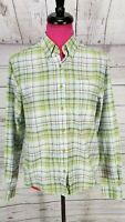 Rockies Western Shirt Size S Womens Green Blue Plaid Button Down Long Sleeve