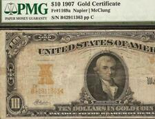 LARGE 1907 $10 DOLLAR GOLD CERTIFICATE NOTE PAPER MONEY BETTER Fr 1169a PMG VF