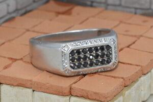 Black rectangl !Soviet Vtg old Russian Sterling SILVER Ring MEN 9.5 cubic zircon