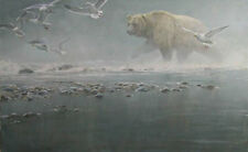 "Above the Rapids Gulls &Grizzly Bear - Bateman - LTd Print size 20""3/8 x 32""1/2"