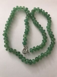 "Natural Light emerald bead 18"" necklace.UK SALE.Hand-knot abacus real gem beads"