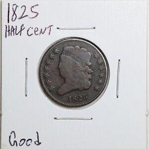 1825 1/2C Classic Head Half Cent in Good Condition #06522