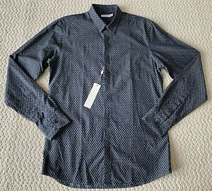 NWT J.Lindeberg Ward Dark Gray Black Dot Print Button Down Dress Shirt $295 Sz S