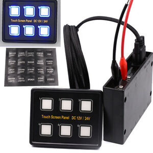 6 Gang Smart 12V/24V LED Touchpad Switch Panel Control Car Boat Truck Marine