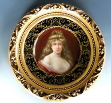 STUNNING ROYAL VIENNA SIGNED WAGNER PORTRAIT PLATE GILDED ORNATE WOODEN FRAME