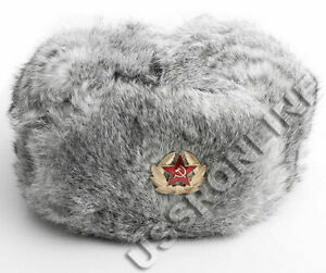 Russian Authentic Grey Rabbit Ushanka Fur Hat Warm Mens Gift +Badge Cossack Army