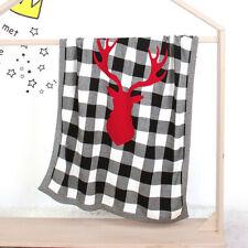 Kid Infant Baby Winter Warm Blanket Christmas Elk Plaid Knit Stroller Photograph