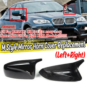 Glossy Black Wing Mirror Cover Caps For BMW X5 X6 E70 E71 2007-2013 M Style