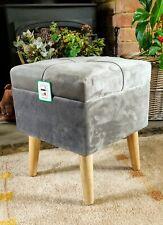 Grey Crushed Velvet Footstool - Stool - Storage New in Box