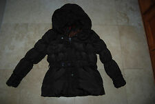 Dark Brown COFFEESHOP Zip & Button Belted Hooded Down Jacket Large