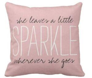 Square Pillowcase Pillow Cover Cute Burlap Pink Sparkle Monogram Decorative Home