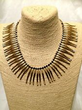 Womens Mens Statement Long Big Large Gold Spike TRIBAL Beaded Chunky Necklace