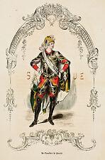 """Challamel's """"Les Francais 1638/1774"""" - """"LE COMEDIEN"""" - Hand-Col. Litho - c1855"""