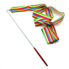 Rhythmic Gymnastics Rainbow Ribbon Ballet Dance Twirling Streamer Rod Stick 4M