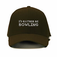 I`D Rather Be Bowling Embroidery Embroidered Adjustable Hat Baseball Cap