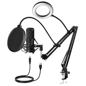 USB Condenser Microphone D80 Recording Microphone with Stand and Ring Light for
