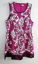 CROWN & IVY Sleeveless Pink-White Black Floral Dress Size 14