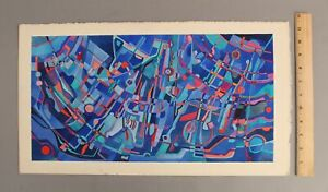 Original FREDERIC M FAILLACE American 1970s Abstract Op-Art Watercolor Painting