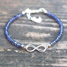 Natural Purple Iolite Bracelet Infinity Design Sterling Silver Adjustable Length