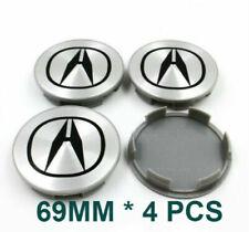 4PC SET SILVER WHEEL CENTER HUB COVER LOGO CAPS 69MM RIM EMBLEM BADGE FOR ACURA
