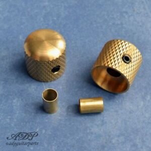 "2 Boutons Tele Dome Knobs Brass 18mm 1/4"" Solid +6mmSplit Shaft SmallGrip BBKUSU"