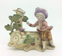 Antiguo Porcelana Vertido Jarrón Tinta Soporte Hombre Dandy Figura Continental