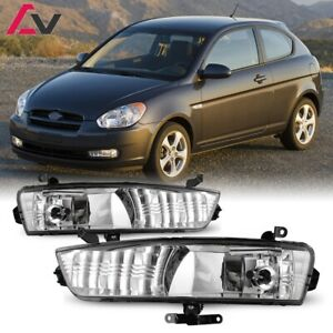 For Hyundai Accent 07-11 Clear Lens Pair Fog Light Lamp+Wiring+Switch Kit