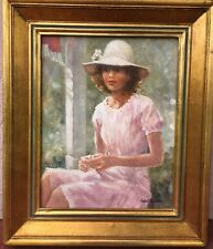 """Girl In Pink"" 1977, by ROBERT SARONY,  Oil on Canvas - 11""x14"""