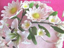 Large Sugar Gum Paste White Shasta Daisies Lily Cake Decorating Flowers