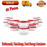 Rubbermaid, TakeAlongs, Food Storage Containers, Red, 40 Piece Set, BPA-free