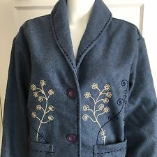 Wool Blend Jacket Blue Floral Embroidery Womens LG Blazer Coat Cold Water Creek