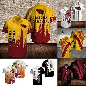 Arizona Cardinals America Football Short Sleeve  Causal Button down Collar Shirt