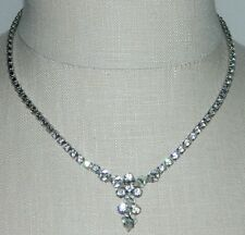 VTG B. DAVID Signed Clear Rhinestone Necklace Unique Clasp Art Deco Style