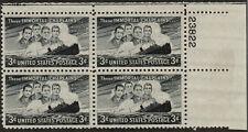 US USA Sc# 956 MNH FVF PLATE # BLOCK SS Dorchester Ship WWII Four Chaplains