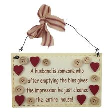 Husband Giggle Plaque - Shabby Chic Sign Wooden Hanging Comical Chores Novelty
