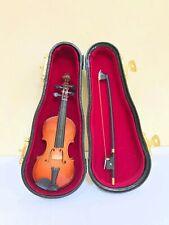 Dollhouse Miniature Four String Bass Guitar & Saw in Black Case  #39