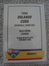1994 ORLANDO CUBS MINOR LEAGUE TEAM SET (26 CARDS) FPC DOUG GLANVILLE