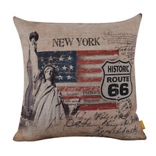 """18"""" New York Statue of Liberty Route 66 Mother Road Pillowcase Cushion Cover"""